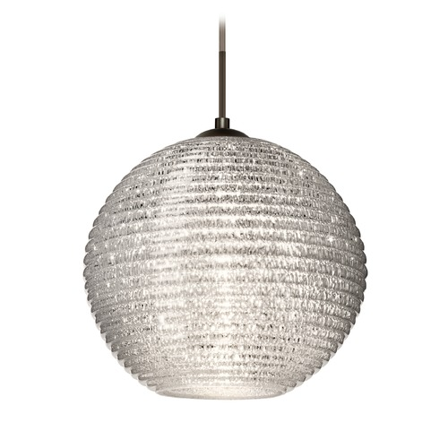Besa Lighting Besa Lighting Kristall Bronze Pendant Light with Globe Shade 1JT-4616GL-BR