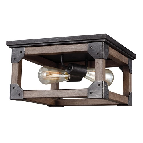 Sea Gull Lighting Sea Gull Lighting Dunning Stardust / Cerused Oak Flushmount Light 7513302-846