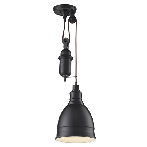 Elk Lighting Elk Lighting Carolton Oil Rubbed Bronze Mini-Pendant Light with Bowl / Dome Shade 66861/1