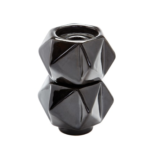 Dimond Lighting Small Ceramic Star Candle Holders - Black. Set Of 2 857130/S2