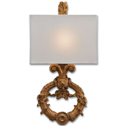 Currey and Company Lighting Currey and Company Handforth Chinois Antique Gold Leaf Distressed with Black Sconce 5900-0001