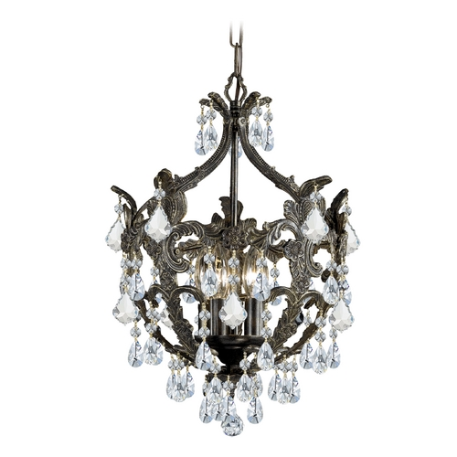 Crystorama Lighting Crystal Mini-Chandelier in English Bronze Finish 5195-EB-CL-MWP