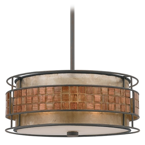Quoizel Lighting Three-Light Mica Pendant with Mosaic Tile Band MC842CRC