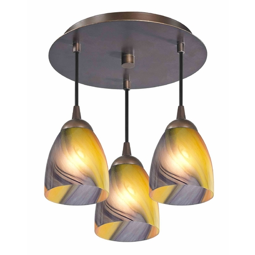 Design Classics Lighting 3-Light Semi-Flush Ceiling Light with Art Glass - Bronze Finish 579-220 GL1015MB