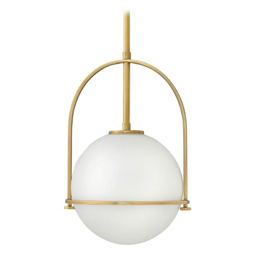 Hinkley Somerset Heritage Brass Pendant Light with Globe Shade 3407HB