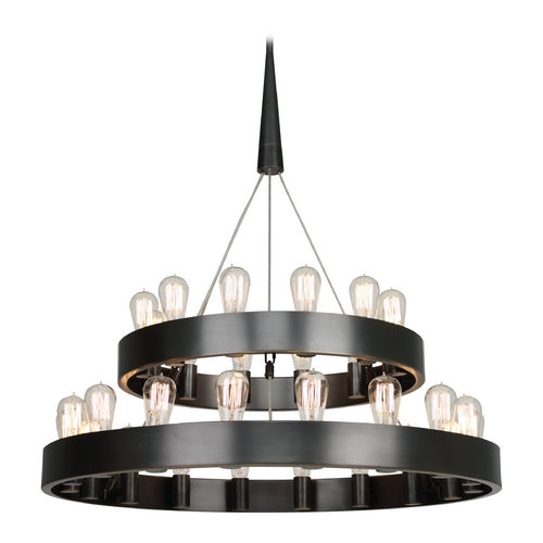 Robert Abbey Lighting Industrial Chandelier 2-Tier 30-Light Bronze by Robert Abbey Z2099