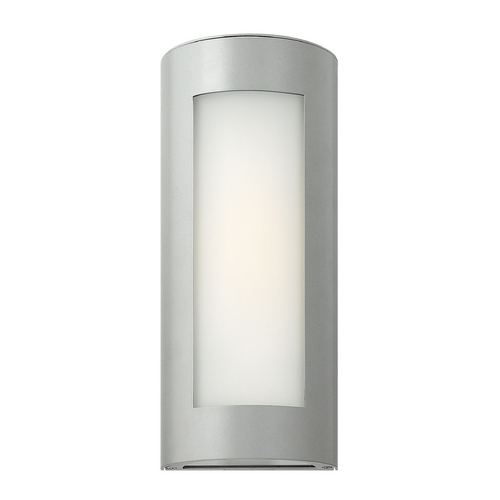 Hinkley Lighting Modern Outdoor Wall Light with White Glass in Titanium Finish 2026TT-GU24
