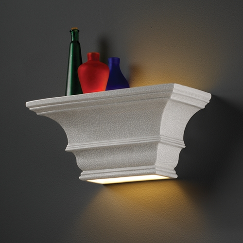 Justice Design Group Sconce Wall Light in White Crackle Finish CER-9825-CRK