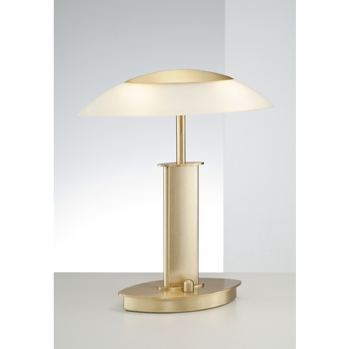 Holtkoetter Lighting Holtkoetter Modern Table Lamp with Beige / Cream Glass in Brushed Brass Finish 6244 BB CHA