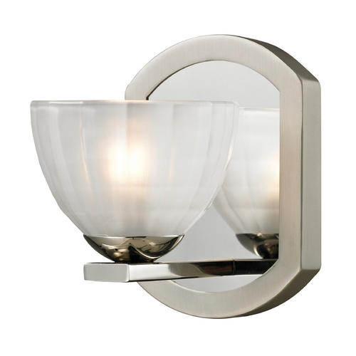 Elk Lighting Modern Sconce Wall Light with White Glass in Polished Nickel/matte Nickel Finish 11595/1