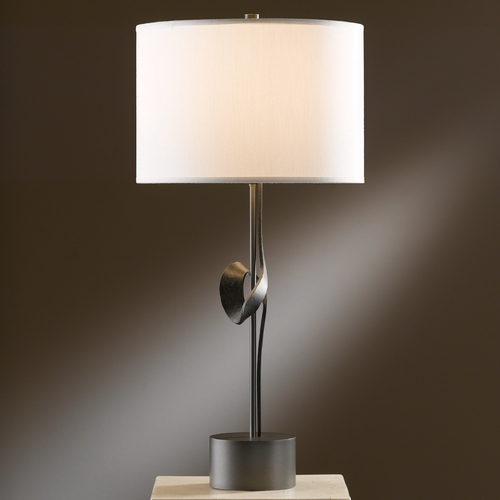 Hubbardton Forge Lighting Hubbardton Forge Lighting Gallery Dark Smoke Table Lamp with Drum Shade 272820-07-587