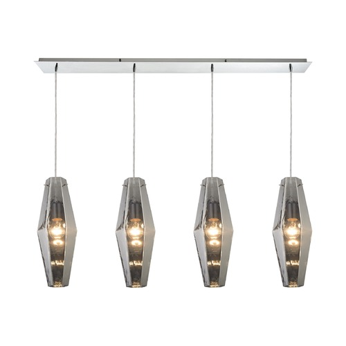 Elk Lighting Elk Lighting Pelham Polished Chrome Multi-Light Pendant with Hexagon Shade 31217/4LP