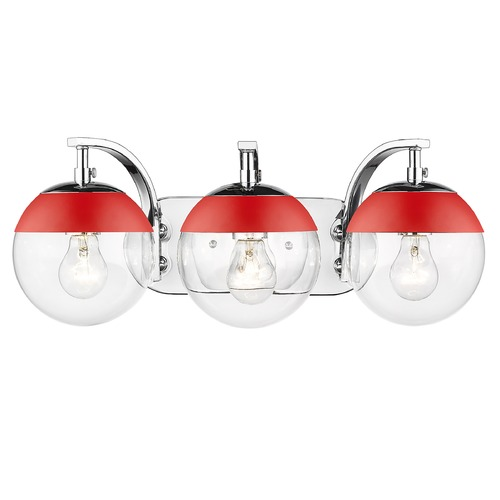 Golden Lighting Golden Lighting Dixon Chrome Bathroom Light with Red Accent 3219-BA3CH-RED