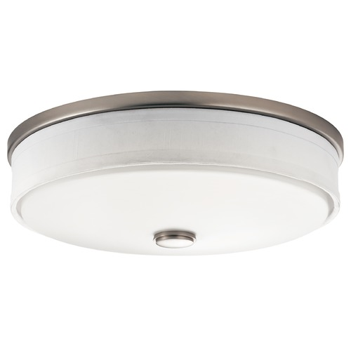 Kichler Lighting Kichler Flushmount Drum Ceiling Light with White Shade 10886NI