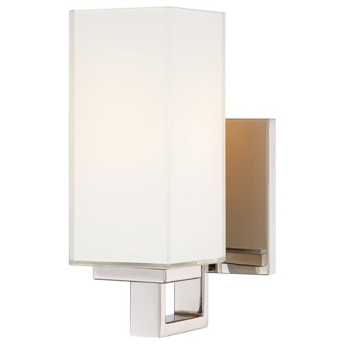 George Kovacs Lighting Modern Sconce Wall Light with White Glass in Polished Nickel Finish P1702-613