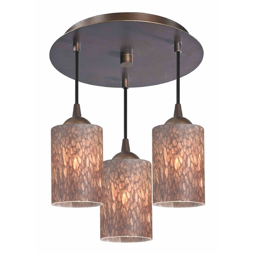 Design Classics Lighting 3-Light Semi-Flush Ceiling Light with Brown Art Glass - Bronze Finish 579-220 GL1016C