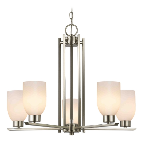 Design Classics Lighting Chandelier with White Glass in Satin Nickel - 5-Lights 1120-1-09 GL1024D