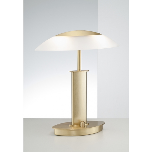 Holtkoetter Lighting Holtkoetter Modern Table Lamp with White Glass in Brushed Brass Finish 6244 BB SW