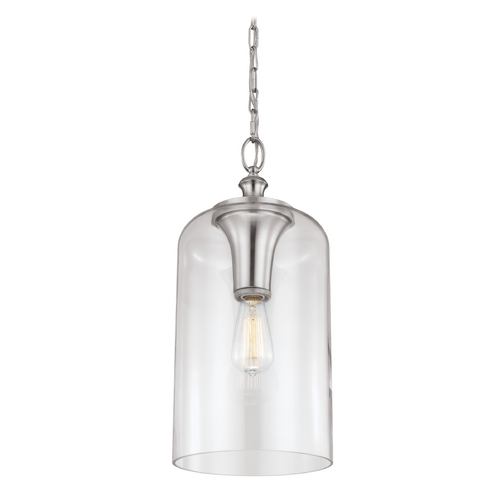 Feiss Lighting Feiss Lighting Hounslow Brushed Steel Mini-Pendant Light with Cylindrical Shade P1309BS