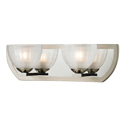 Elk Lighting Modern Bathroom Light with White Glass in Polished Nickel/matte Nickel Finish 11596/2