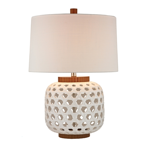 Dimond Lighting Table Lamp with Drum Shade with White Wood Cutout Base D346