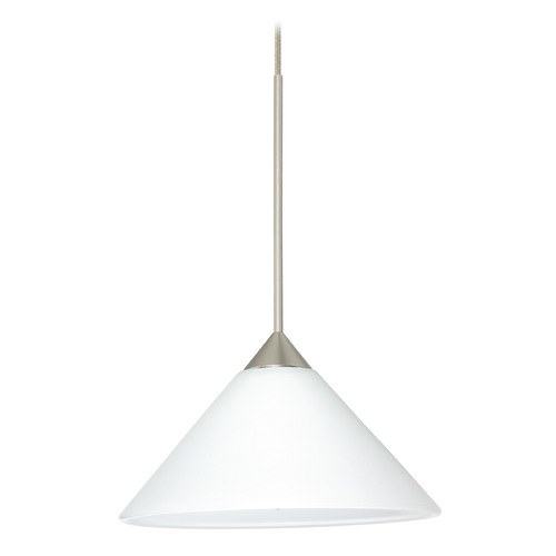 Besa Lighting Besa Lighting Kona Satin Nickel Mini-Pendant Light with Conical Shade 1XT-117607-SN