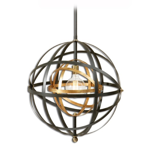 Uttermost Lighting Mid-Century Modern Pendant Light Oil Rubbed Bronze, Gold Rondure by Uttermost Lighting 22038