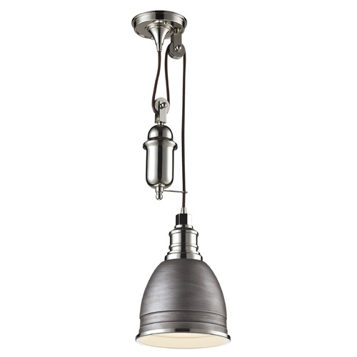 Elk Lighting Elk Lighting Carolton Weathered Zinc/polished Nickel Mini-Pendant Light with Bowl / Dome Shade 66881/1