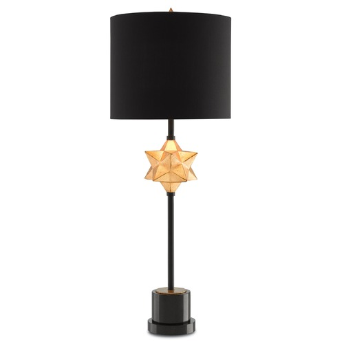 Currey and Company Lighting Currey and Company Daystar Chinois Antique Gold Leaf/black Table Lamp with Drum Shade 6000-0001