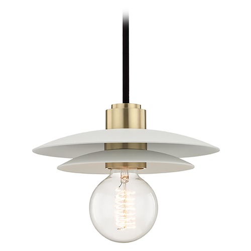 Mitzi by Hudson Valley Mid-Century Modern Mini-Pendant Light Brass Mitzi Milla by Hudson Valley H175701S-AGB/WH