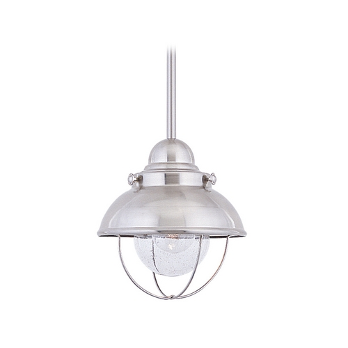 Sea Gull Lighting Marine / Nautical Mini-Pendant Light Brushed Stainless Sebring by Sea Gull Lighting 6150-98
