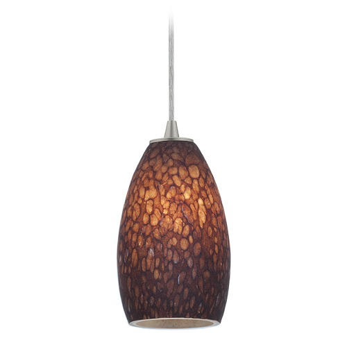 Access Lighting Modern Mini-Pendant Light with Brown Glass 28012-1C-BS/BRST