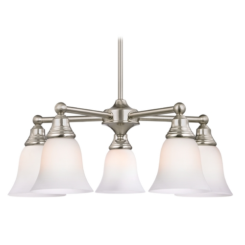 Design Classics Lighting Five Light Chandelier with White Bell Glass in Satin Nickel Finish 597-09 GL9222-WH