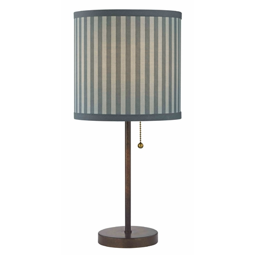 Design Classics Lighting Pull-Chain Table Lamp with Blue / Grey Striped Shade 1900-604 SH9519