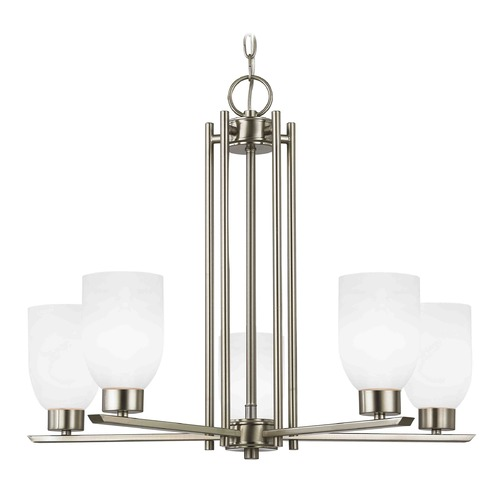 Design Classics Lighting Chandelier with White Glass in Satin Nickel - 5-Lights 1120-1-09 GL1028D