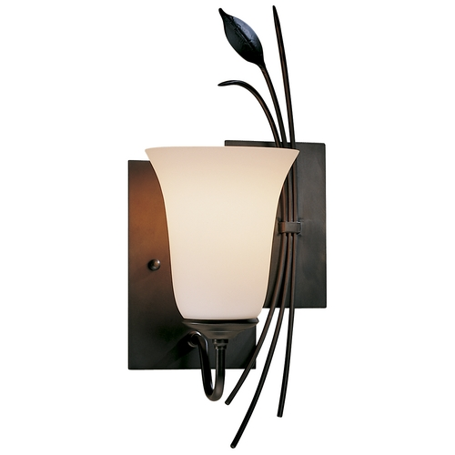 Hubbardton Forge Lighting Sconce Wall Light with White Glass in Dark Smoke Finish 205122-SKT-RGT-07-GG0035