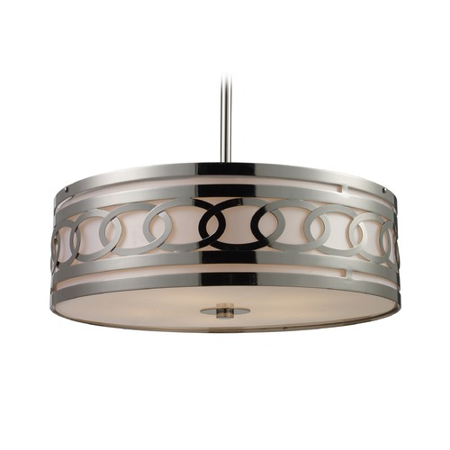 Elk Lighting Elk Lighting Zarah Polished Nickel LED Pendant Light with Drum Shade 10125/5-LED