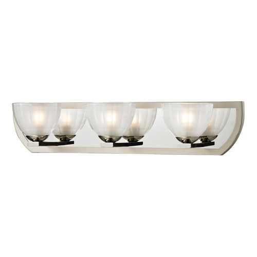 Elk Lighting Modern Bathroom Light with White Glass in Polished Nickel/matte Nickel Finish 11597/3