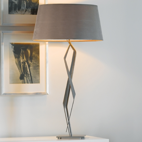Hubbardton Forge Lighting Hubbardton Forge Lighting Facet Burnished Steel Table Lamp with Empire Shade 272850-08-714