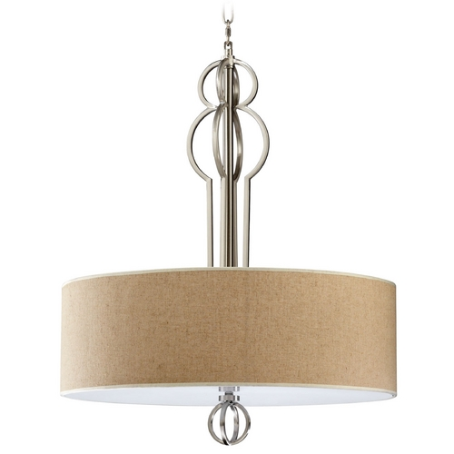 Cyan Design Cyan Design Auburn Satin Nickel Pendant Light with Drum Shade 04678