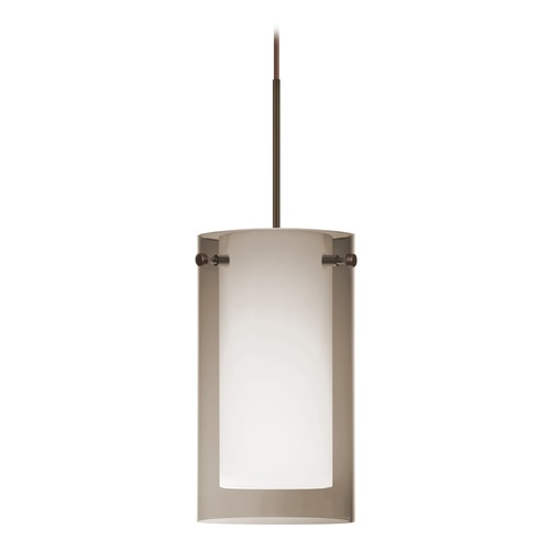 Besa Lighting Besa Lighting Pahu Bronze Mini-Pendant Light with Drum Shade 1XT-S44007-BR