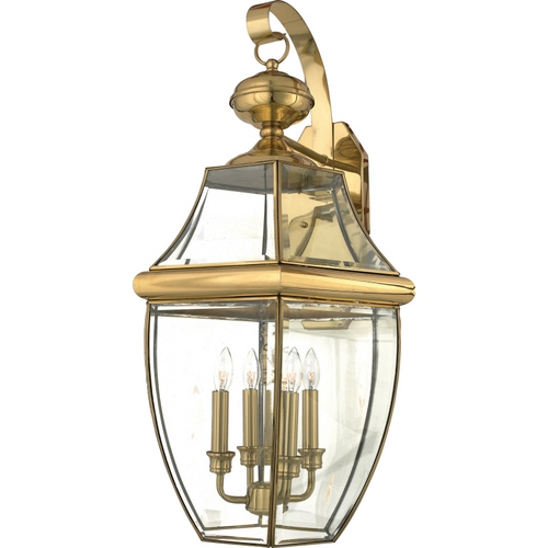 Quoizel Lighting Outdoor Wall Light with Clear Glass in Polished Brass Finish NY8339B