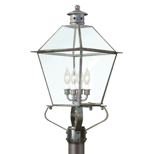 Troy Lighting Post Light with Clear Glass in Charred Iron Finish P8958CI