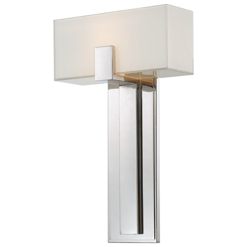 George Kovacs Lighting Modern Sconce Wall Light with White Glass in Polished Nickel Finish P1704-613