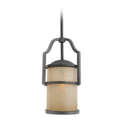 Sea Gull Lighting Nautical Mini-Pendant Light with Beige / Cream Glass in Bronze Finish 61520-845