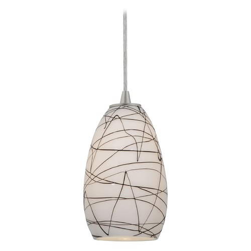 Access Lighting Modern Mini-Pendant Light with White Glass 28012-1C-BS/BLWH