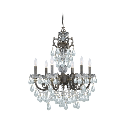 Crystorama Lighting Crystal Chandelier in English Bronze Finish 5196-EB-CL-SAQ