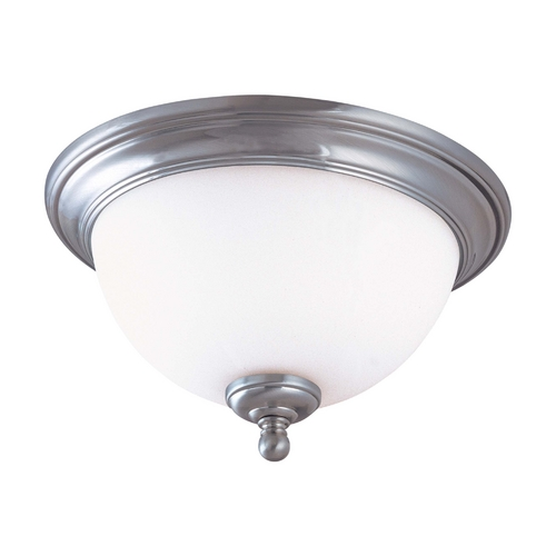Nuvo Lighting Flushmount Light with White Glass in Brushed Nickel Finish 60/1805