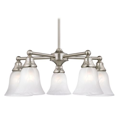 Design Classics Lighting Chandelier with Alabaster Glass in Satin Nickel Finish 597-09 GL9222-ALB