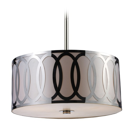 Elk Lighting Elk Lighting Anastasia Polished Nickel LED Pendant Light with Drum Shade 10173/3-LED